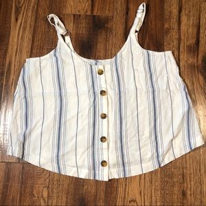 💝Hollister blue & white striped button-down top S